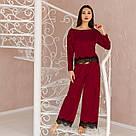 """Піжама жіноча з мармурового велюру """"Шеррі"""". Комплект кофта та штани бордового кольору, фото 3"""