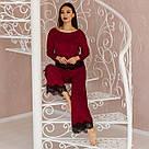 """Піжама жіноча з мармурового велюру """"Шеррі"""". Комплект кофта та штани бордового кольору, фото 5"""