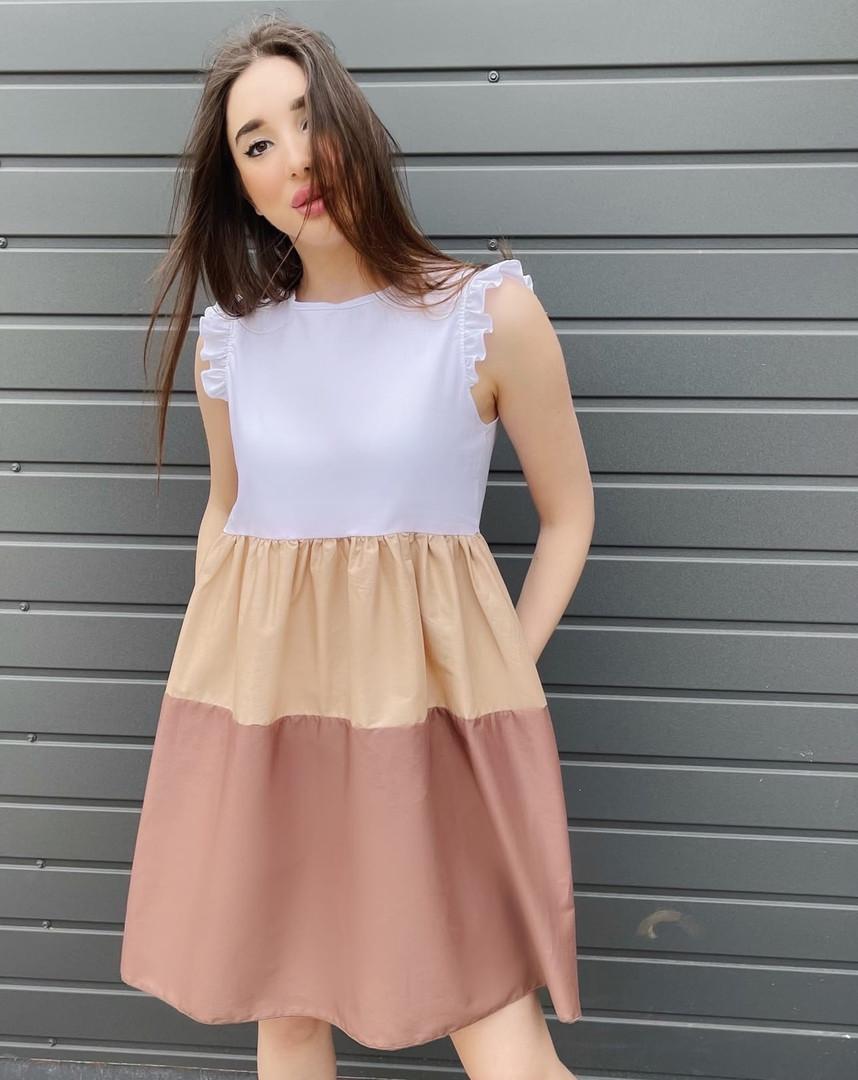 Женское платье, коттон, р-р 42-44; 46-48 (бежевый)