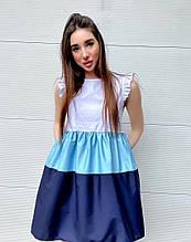 Женское платье, коттон, р-р 42-44; 46-48 (синий)