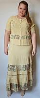 Костюм женский (блузка с юбкой) светло-горчичный, на 48-52 размеры