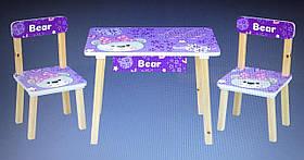 Столик 501-121 д60-ш40-в43см,2стульчика,ш30-г30-в51см,висот.до сід.23см, фіолетовий ведмідь