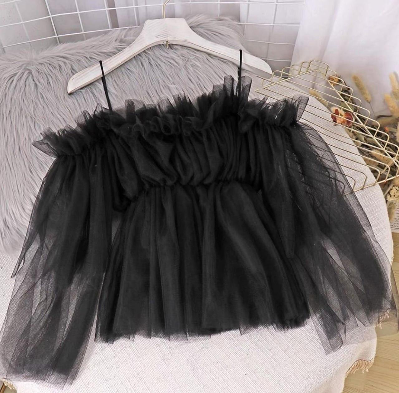 Жіноча блузка, супер софт + фатиновая євро сітка, р-р 42-44; 44-46 (чорний)