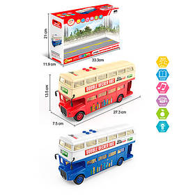 Автобус 1588  двухэтажный, 27,5см, 1:16,ездит,муз-зв(англ),св,2цв,бат,в кор-ке, 34-21,5-11,5см