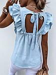 Женская блузка, креп - костюмка, р-р 42-44; 44-46 (голубой), фото 3