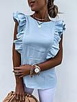 Женская блузка, креп - костюмка, р-р 42-44; 44-46 (голубой), фото 2