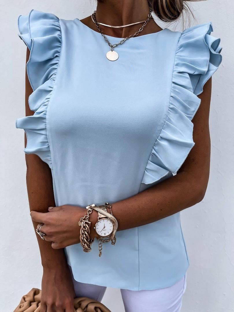 Женская блузка, креп - костюмка, р-р 42-44; 44-46 (голубой)
