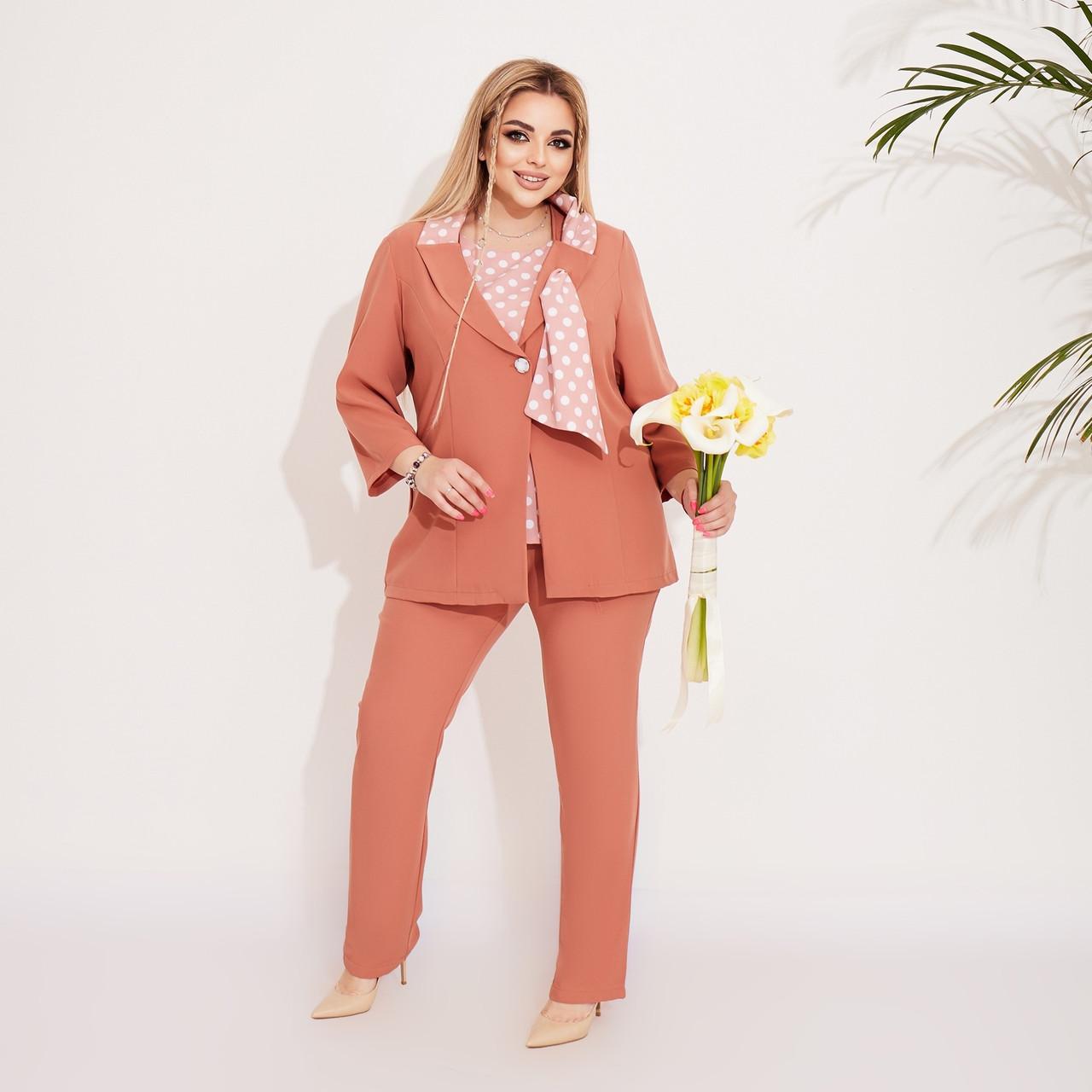 Элегантный женский деловой костюм тройка: блуза, брюки и пиджак с оригинальным воротом, батал большие размеры