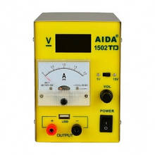 Блок питания AIDA 1502TD USB, 15V5V, цифровая индикация, 2A стрелочная индикация, автовосстановление после КЗ