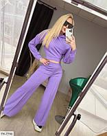 Брючный стильный костюм женский с укороченной кофтой из двунитки арт 286