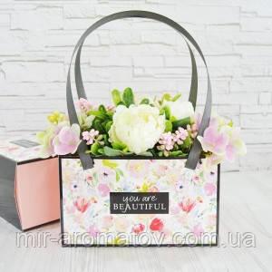 №51  СУМОЧКА С РУЧКАМИ  цветы   1 упаковка 5шт