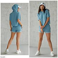 Костюм женский стильный для спорта футболка свободная с шортами р-ры 42-44,46-48 арт 5163