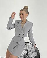 Трендовый стильный деловой костюм женский укороченный пиджак с мини юбкой р-ры 42-44,44-46 арт 212