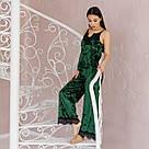 """Піжама жіноча з мармурового велюру """"Шеррі"""". Комплект майка і штани зеленого кольору, фото 3"""
