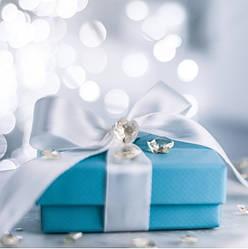 Подарунковий паперовий пакет КВАДРАТ 23,5*23,5*10 см Стрічка