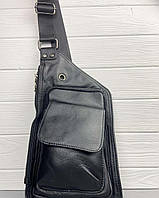 Мужской кожаный рюкзак-слинг на одно плечо TidinBag черный