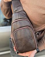 Мужской кожаный рюкзак-слинг на одно плечо TidinBag коричневый