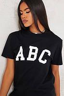 Черная женская футболка с принтом, Летняя футболка (чёрный, молочный)