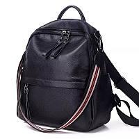 Жіночий шкіряний рюкзак. Рюкзак жіночий молодіжний чорний