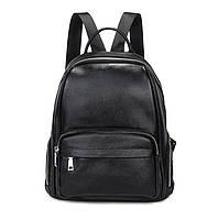 Женский кожаный рюкзак черный. Молодежный женский рюкзак на каждый день (78430)