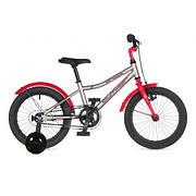 """Велосипед AUTHOR (2021) Orbit II 16"""", рама 9"""", цвет-серебристый // красный"""