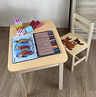 Стол и стул детские. Для обучения ребенка. Стол с ящиком и стульчик.