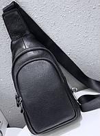 Мужской кожаный рюкзак-слинг на одно плече TIDING BAG A25F-873-1A черный