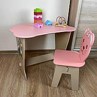 Детский стол-парта с крышкой облачко и стульчик фигурный.Подойдет для подарка!