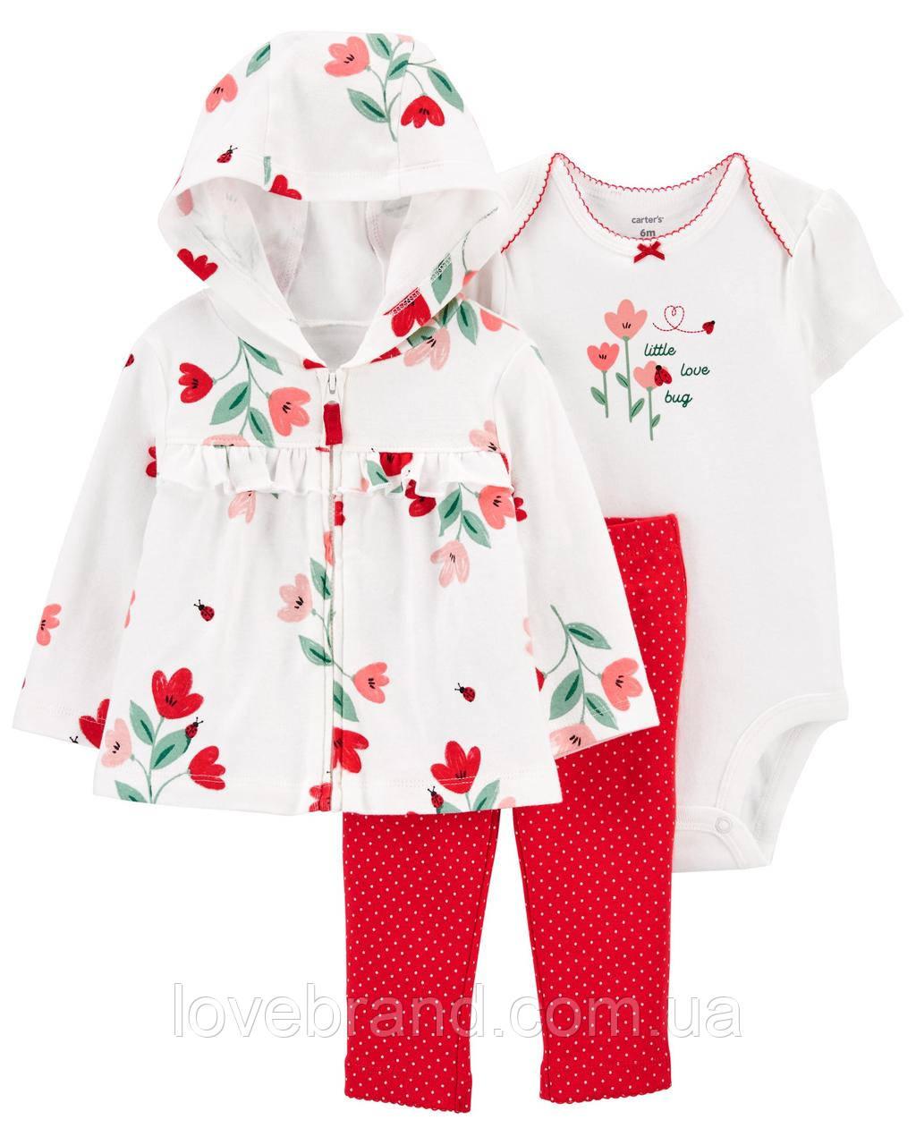 Набор тройка для девочки Carter's (картерс) Красные цветы