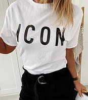 Модная женская футболка с надписью ICON и рукавом на манжете, футболка белая
