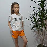 Стильная футболка для девочки белая с надписью (рост 128- 152)