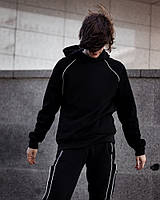 Мужской спортивный худи Nef черный с капюшоном Оверсайз стиль.