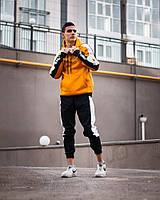 Мужской спортивный худи с капюшоном Sabu Mustard Оранжевый. Оверсайз стиль.