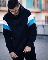 Худи с капюшоном черный мужской Pariston, оверсайз стиль.