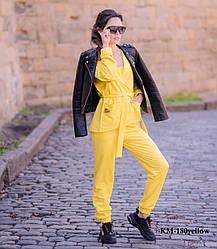 Женский костюм-тройка с топом Diva KM-180yellow