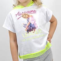 Белая футболка топ для девочки тм Miss Feriha с капюшоном размер 110,116,122,128,134 см