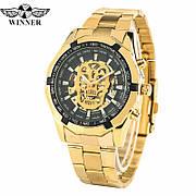 Мужские механические наручные часы в стиле Winner Skeleton Luxury Gold