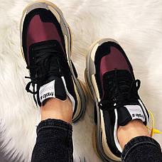 Женские кроссовки в стиле Balenciaga Triple s V2 Black Burgundy ТОП-качество, фото 2