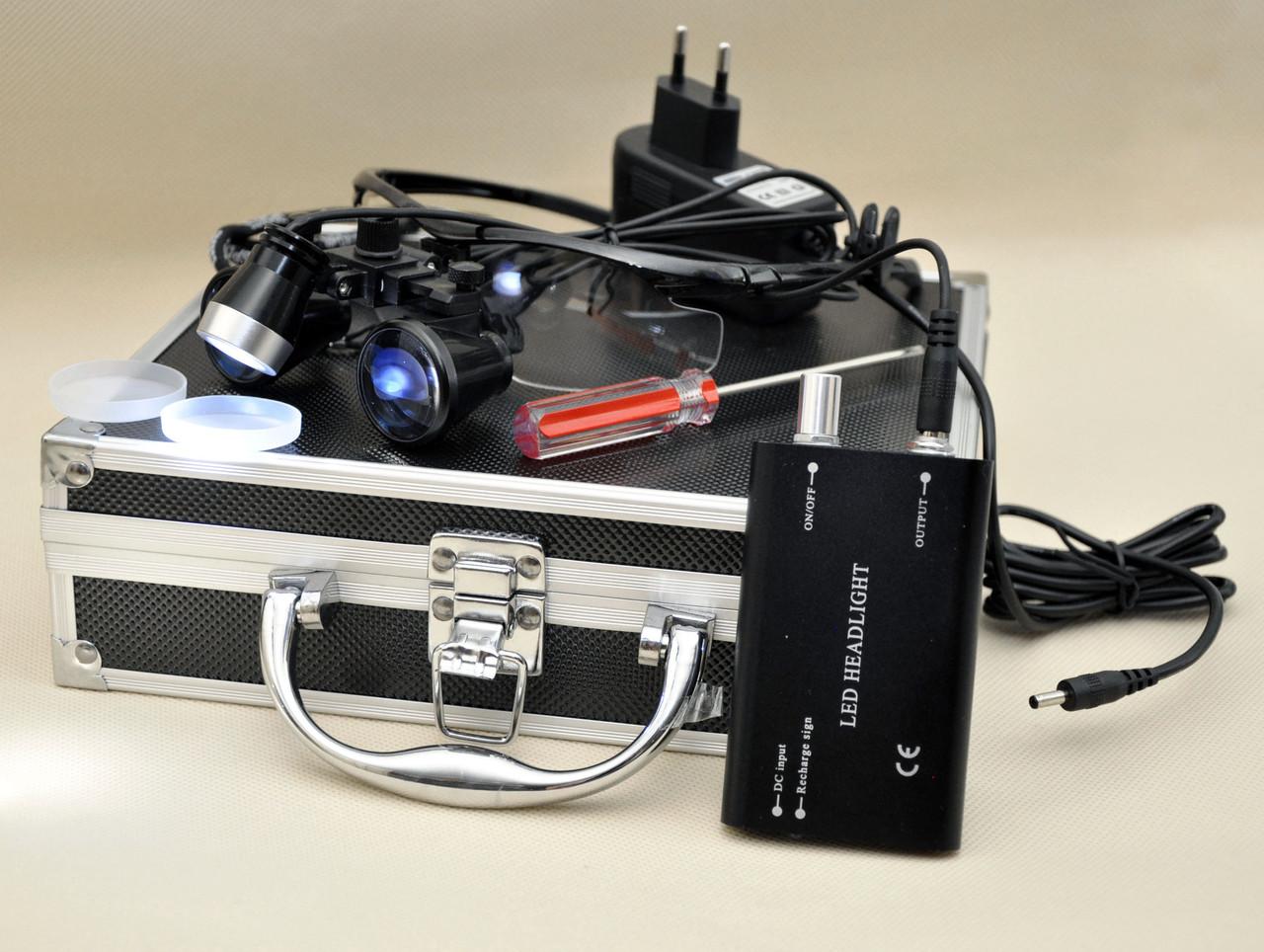 Окуляри бінокулярні StarDent з підсвічуванням в кейсі 3.5х420-BLK хірурга стоматолога ювеліра (OP3.5-420BLK)