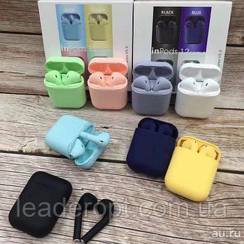ОПТ Бездротові блютуз навушники InPods 12 Macaron Bluetooth 5.0 сенсорні, блютуз гарнітура в кейсі