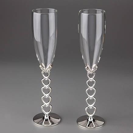 Свадебные бокалы 24.5см, материал мельхиор и стекло, цвет серебро (009G), фото 2