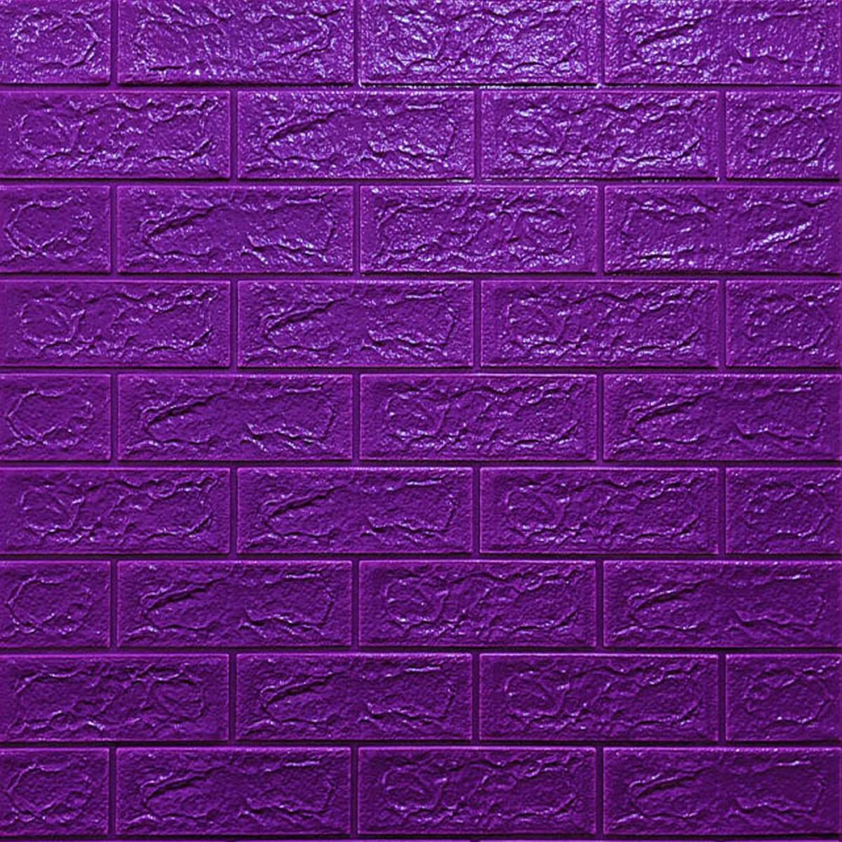 Самоклеющаяся декоративная 3D панель Кирпич Фиолетовый 700x770x5мм (016-5)