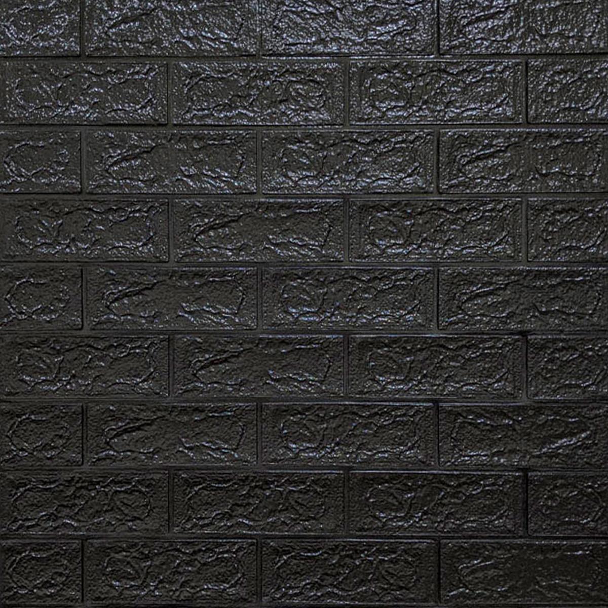 Декоративная 3D панель самоклейка под кирпич Черный 700x770x5мм (019-5)