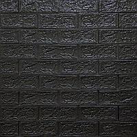 Декоративная 3D панель самоклейка под кирпич Черный 700x770x5мм (019-5), фото 1