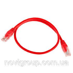 Патч-корд литий RITAR, UTP, RJ45, Cat.5e, 0,3 m, червоний, Cu (мідь)
