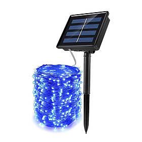 Гірлянда роса Copper Solar 100B-5 вулична з акумулятором і сонячною панеллю 10м (Синій)
