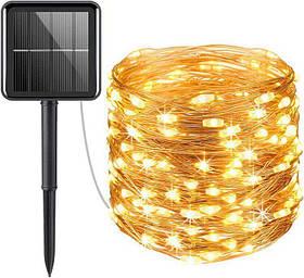 Гірлянда роса Copper Solar 100WW-5 вулична з акумулятором і сонячною панеллю 10м (Теплий Білий)