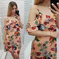 Літній коротке плаття з воланом, арт 102, принт метелики на тлі персиком