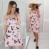 Літній коротке плаття з воланом, арт 102, принт рожевий/трикутники