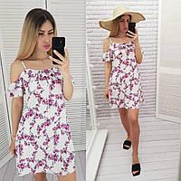 Літній коротке плаття з воланом, арт 102, колір білий/рожеві квіти